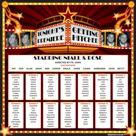 cinema themed wedding table seating plan wedfest