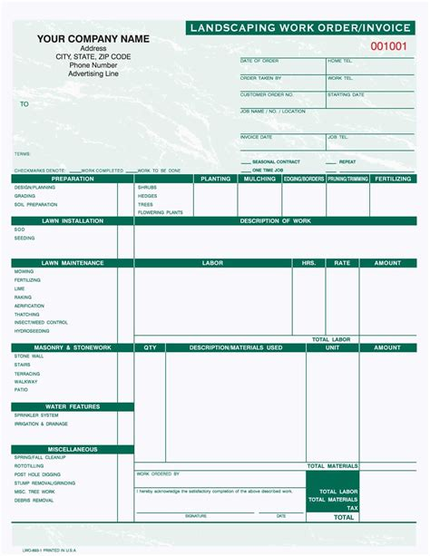 part landscaping work order invoice  shipping