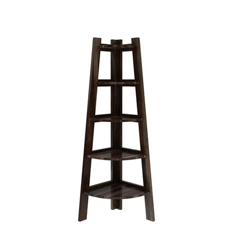 Contemporary Corner Bookcase by Cameroon Contemporary 5 Shelf Solid Wood Corner Ladder