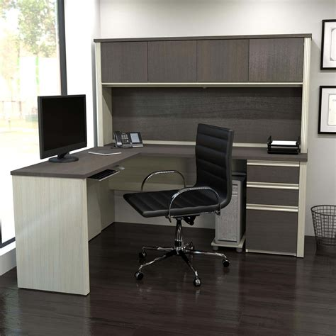 Bestar Prestige L Shaped Desk With Pedestal by Bestar Prestige L Shaped Workstation With Hutch And
