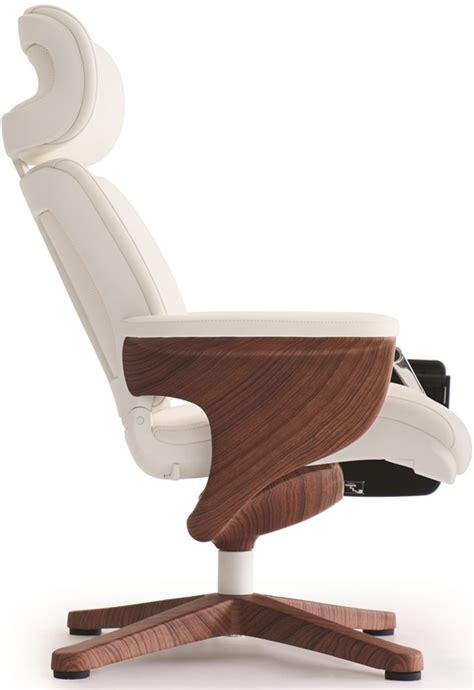 nuvem leather office chair with footrest and built in