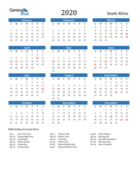 printable calendar   word  excel south africa