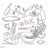 Doodle Outline Wok Restaurant Drawn Elements Asiatique Mano Asian Dell Het Getrokken Nehmen Weg Muster Nahtloses Vectors Sie Steel Piccante sketch template