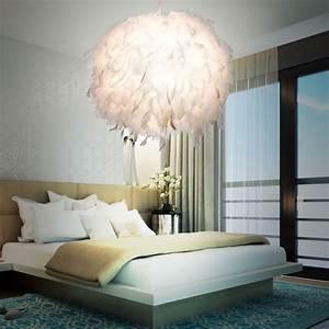 Lustre Boule Plume : suspension lustre luminaire plafond plumes de canard blanc ~ Teatrodelosmanantiales.com Idées de Décoration