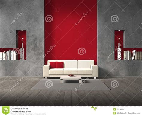 War For Your Living Room Stocks by Modern Living Room With Maroon Wall Stock Illustration