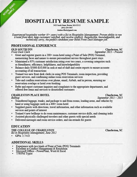 hotel front desk resume hospitality resume sle writing guide resume genius
