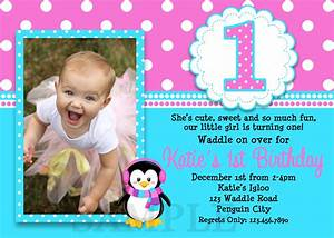 printable birthday invitations girls penguin party With first birthday invitation letter
