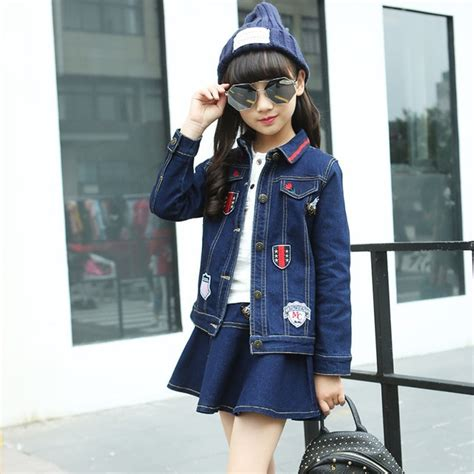 newest girls denim jacket skirt suits set cute children