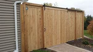 Cedar valley estate fence with barn style door for Barn style fence