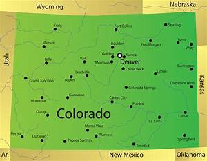 Colorado Map - blank Political Colorado map with cities