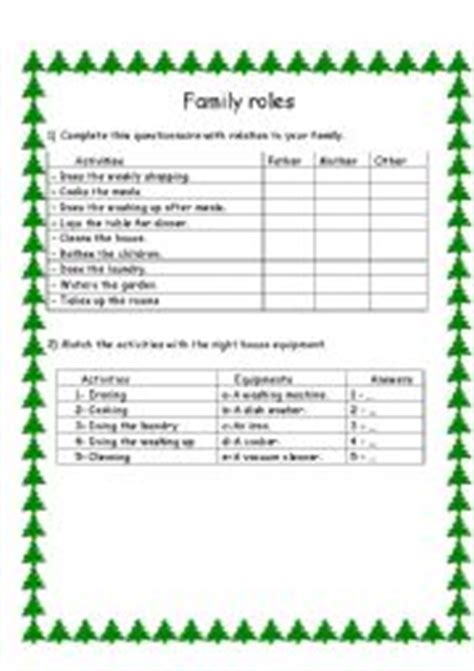 worksheets house work family roles