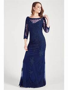 Manon M69317 Navy Blue Lace Dress With Sleeves