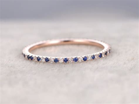 Sapphire And Diamond Wedding Rings 14k Rose Gold Thin Pave