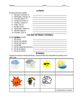 weather and date spanish practice worksheet by valdosta