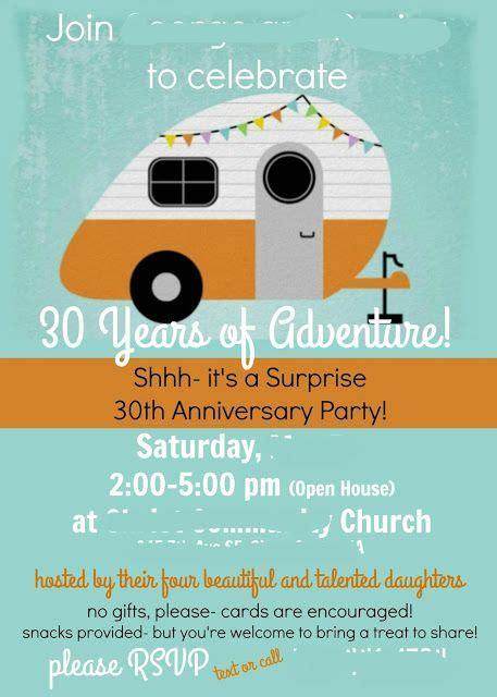 invitations  retro camper anniversary party