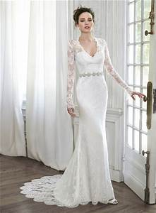 elegant mermaid v neck illusion back long sleeve lace With long sleeve v neck wedding dress