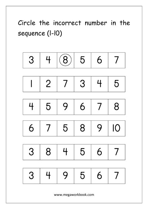 free math worksheets sequencing numbers sequence and