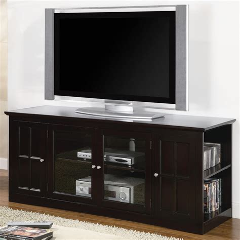 Interior Small Gray Media Cabinet With Glass Doors