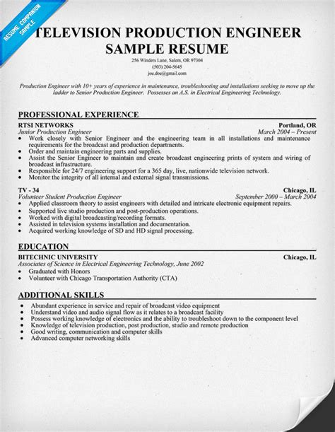 Production Engineer Resume Template signal processing bay station resume