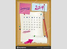 Mes de enero 2019 tablero de corcho de calendario 2019