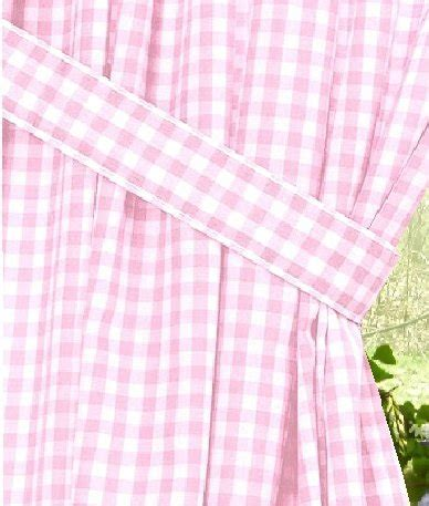 Light Pink Gingham Check Window Long Curtain (available in