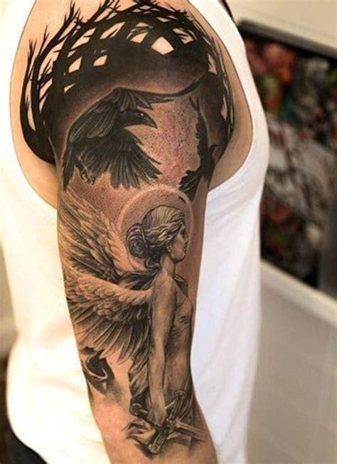 oberarm engel engel schwarz tattoos engel engel oberarm und symbol tattoos