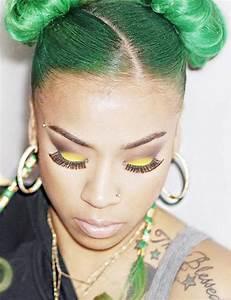 Keyshia Cole Straight Green Multiple Buns, Uneven Color ...