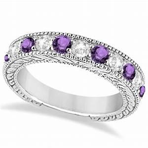 Antique diamond amethyst bridal wedding ring set 18k for Amethyst diamond wedding ring set