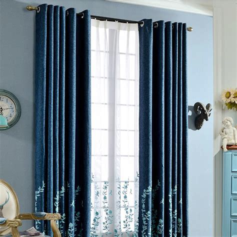 pastoral style navy blue linen embroidery country curtains