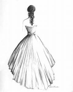 wedding dress portrait in graphite back view 30000 via With wedding dress drawing