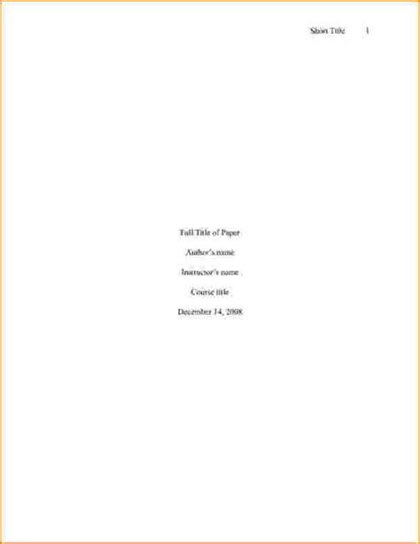 Title Page Template Style Word Cover Apa Cover Page