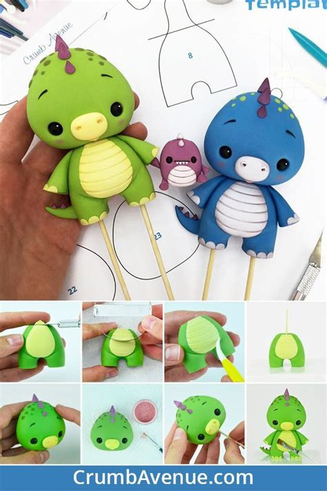 baby dino cake topper  tutorial  templates cute