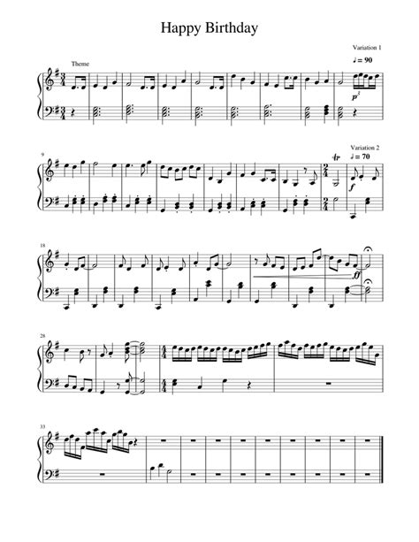 Everyone needs to know how to play happy birthday on the here are two super easy versions of happy birthday in middle c position. Happy Birthday Variations Sheet music for Piano | Download free in PDF or MIDI | Musescore.com