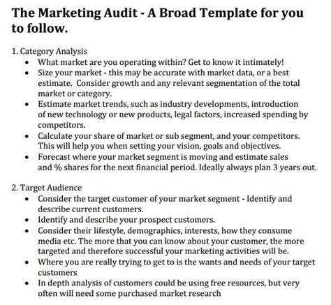 marketing audit template   word excel documents