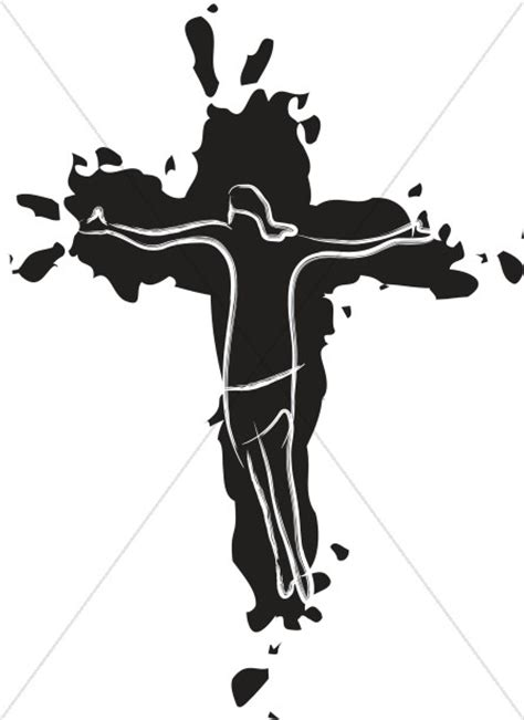 Abstract Jesus Black And White by Abstract Jesus On Cross Friday Clipart