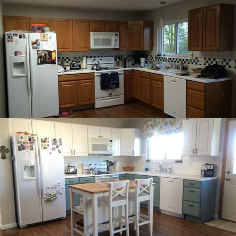 kitchen renovation general finishes milk paint antique white persian blue   cabinets