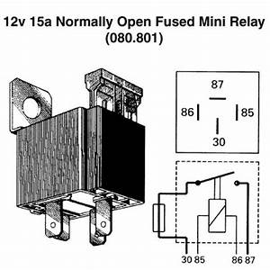 12v 15a Normally Open Fused Mini Relay For Vintage And