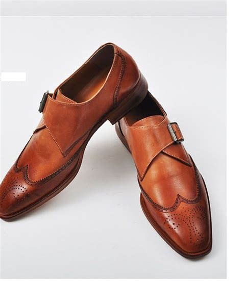 custom kulit handmade color dress shoes mens leather monk