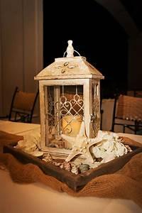 Vintage, Inspired, Lantern, Hydrangea, And, Seashell, Centerpieces