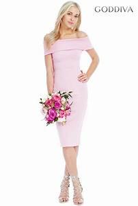 goddiva pink multi neckline midi dress wedding guest With midi wedding guest dress