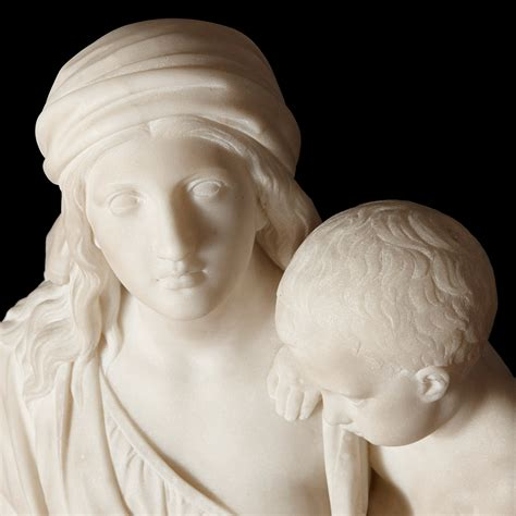 White Carrara marble sculpture of Hannah and Samuel by ...