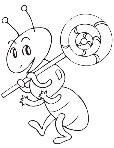 ant holding lollipop coloring page   coloring pages