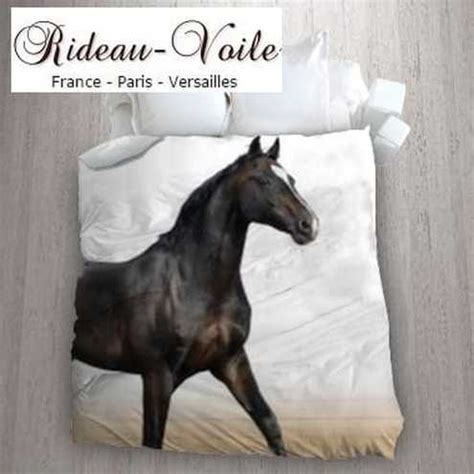 housse couette tissu motif cheval