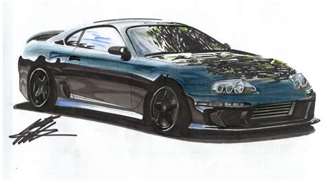 realistic car drawing mk toyota supra time lapse