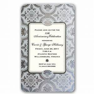 silver foil 25th wedding anniversary invitations paperstyle With 25th wedding anniversary invitations