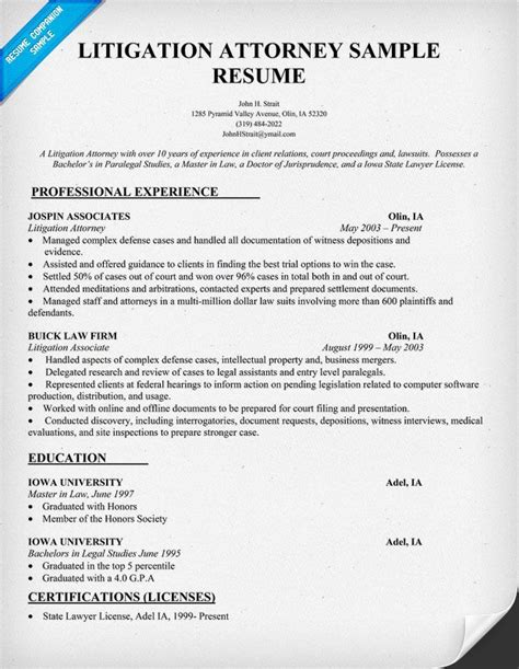 litigation attorney resume sle resumecompanion com