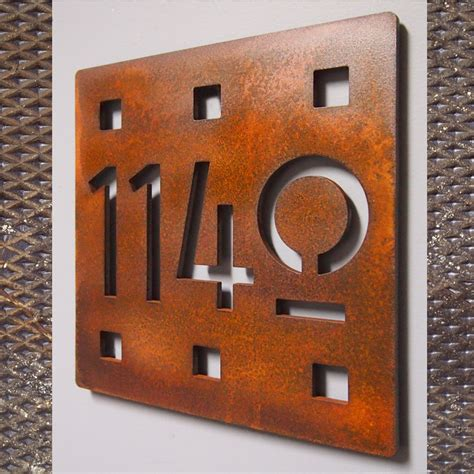 custom floating mission square house number sign  rusted