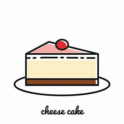 Cheese Cake Vector Icon Line Cheesecake Elements