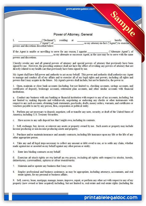 printable power  attorney general legal forms