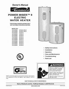 Kenmore Water Heater 153 329264 38 Gallon Short User Guide